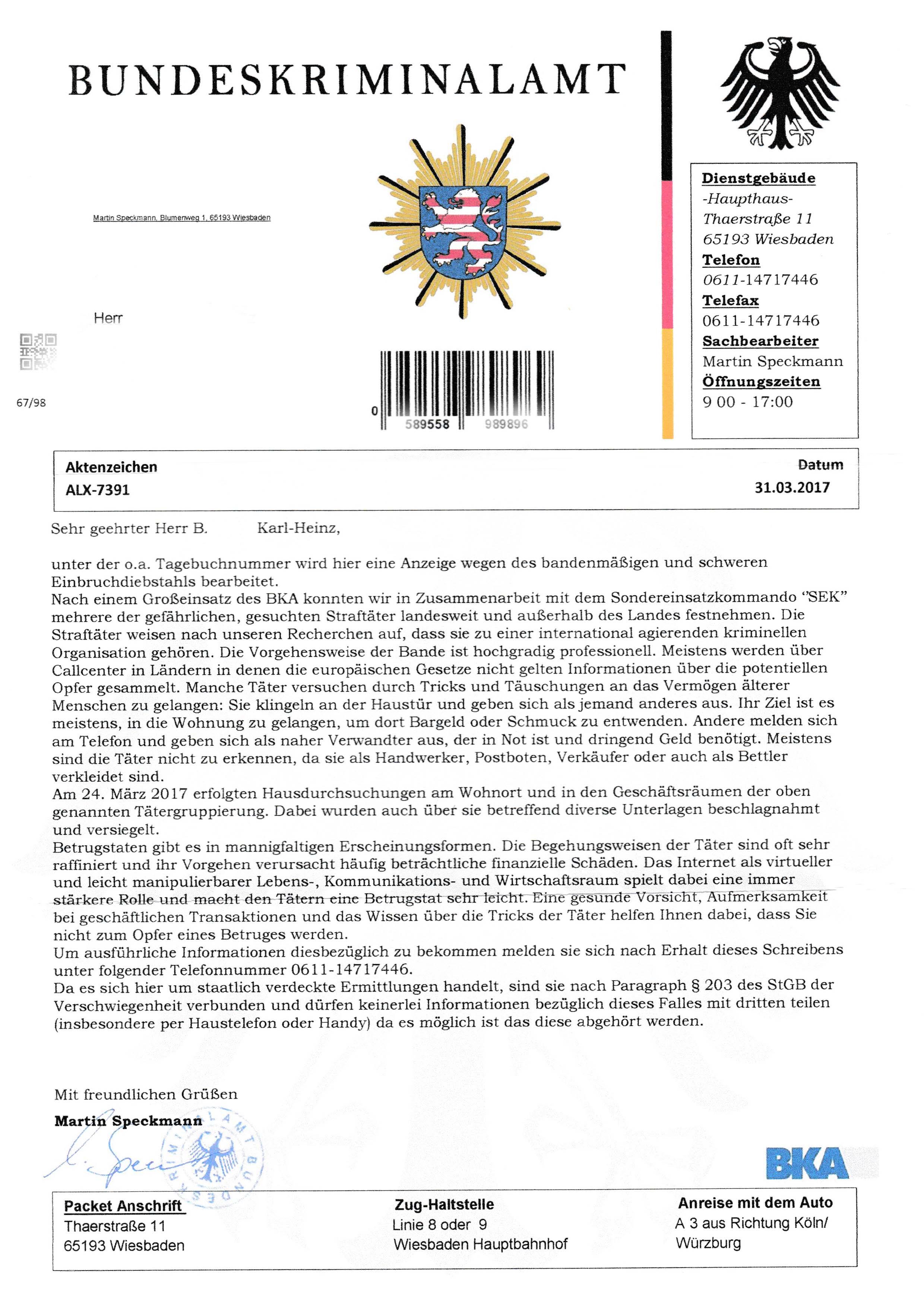 Bka Homepage Das Bundeskriminalamt Warnt Neue Masche Betrüger