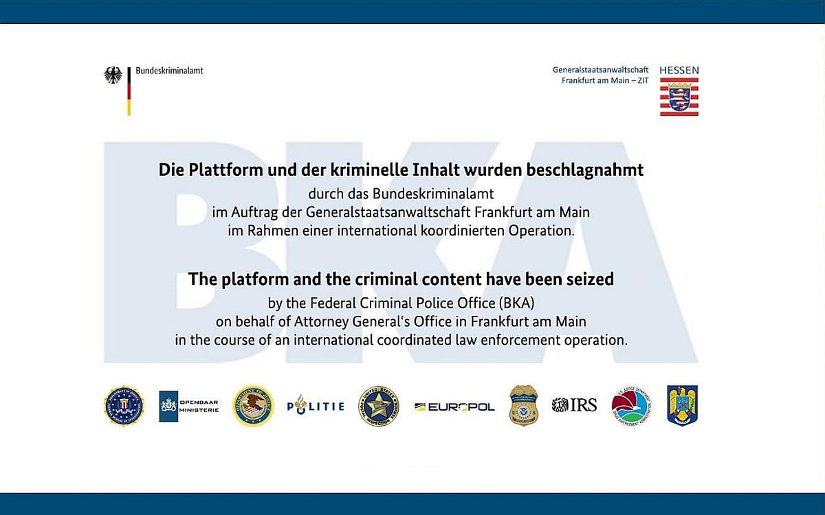 """Sicherstellungsbanner für die Online-Plattform """"WALL STREET MARKET"""" mit dem Text """"Die Plattform und der kriminelle Inhalt wurden beschlagnahmt"""""""